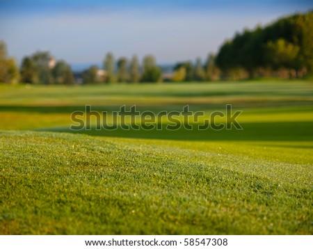 Golf fairway ground from view - stock photo