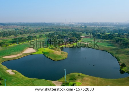 golf field aerial - stock photo