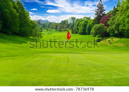 golf field. european landscape - stock photo