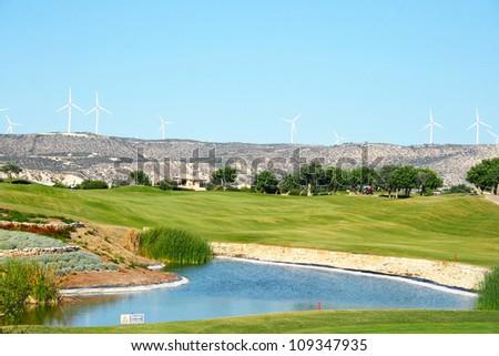 Golf field in Cyprus mountain village. - stock photo