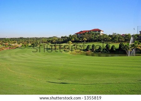 Golf field in KL, Malaysia - stock photo