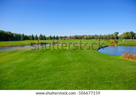 golf field with the lake