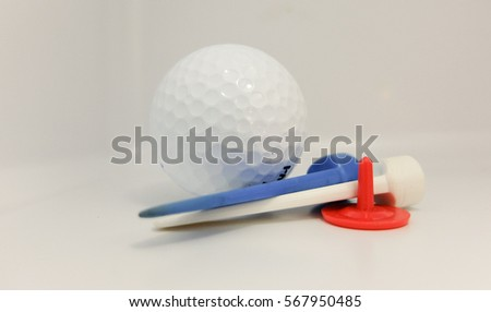 Golf for beginner. High Key image with over exposing background.