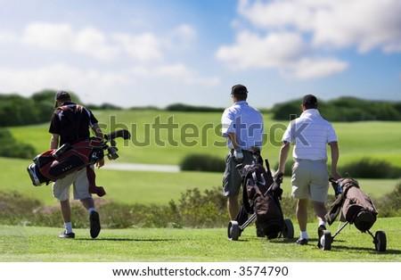 golf friends - stock photo
