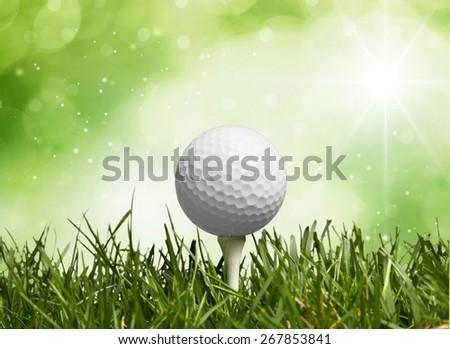 Golf, Golf Ball, Tee. - stock photo