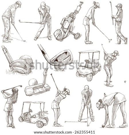GOLF, Golfers, Golf impact positions and Golf Equipment. Collection of an hand drawn full sized illustrations (originals), pack no.2. Drawings on white background. - stock photo