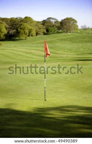 golf green and flag in beverly east yorkshire - stock photo