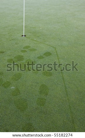 Golf green early in the morning. Lots of dew and footprints. Showing putted ball track in dew. - stock photo
