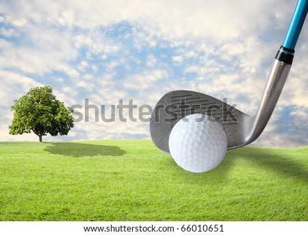 golf , green grass and beautiful sky - stock photo