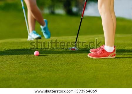 golf hit on green - stock photo