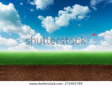 Golf hole in grass - stock photo
