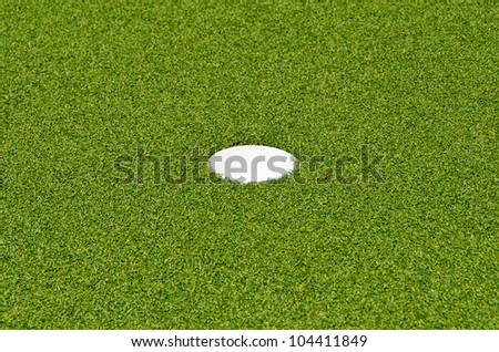 Golf hole on the green grass