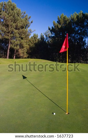Golf hole with red flag, golf ball and shadow.