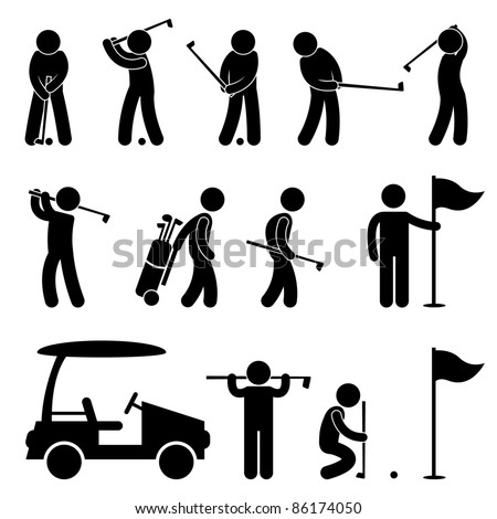 Golf Icons - stock photo