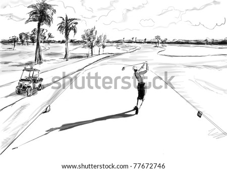 golf illustration - stock photo