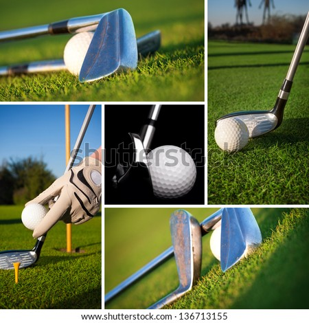 Golf images in a beautiful collage - stock photo