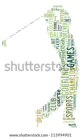 Golf info-color text graphics composed in golfer shape concept on white background - stock photo