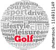 Golf info-text graphics and arrangement concept on white background (word cloud) - stock