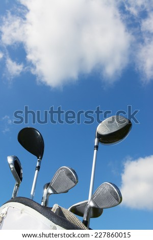 Golf Organizer Cart Bag with Golf Clubs - stock photo