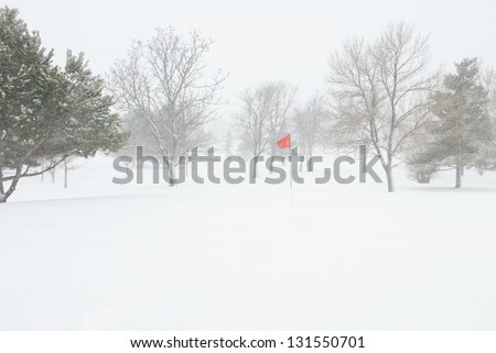 Golf Pin Red Flag Blowing in a Snow Storm - stock photo