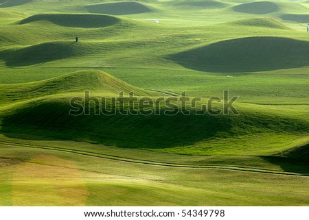 Golf place with beautiful green for background - stock photo