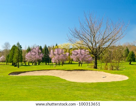 Golf place with gorgeous green and sand bunker. - stock photo