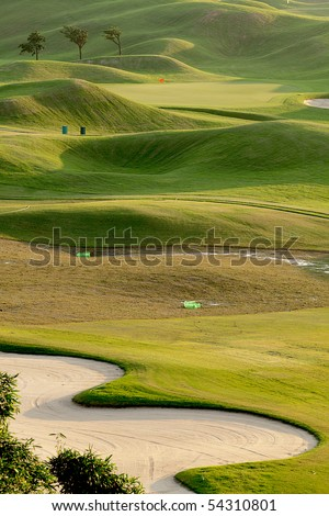 golf place with nice green - stock photo