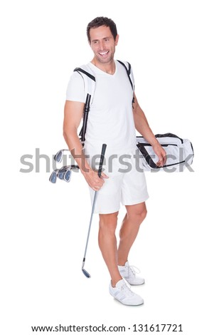 Golf Player Holding Bag With Clubs Isolated On White Background - stock photo
