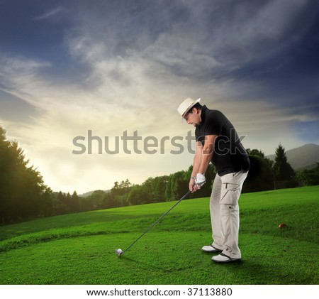 golf player in a beautiful natural landscape - stock photo