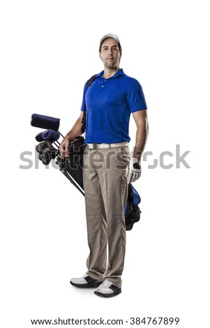 Golf Player in a blue shirt, standing with a bag of golf clubs on his back, on a white Background. - stock photo
