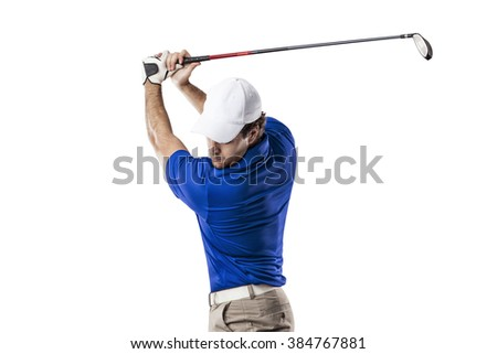 Golf Player in a blue shirt taking a swing, on a white Background. - stock photo
