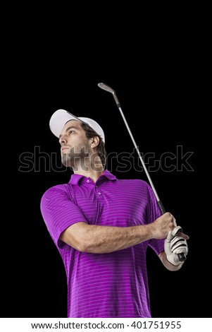 Golf Player in a pink shirt taking a swing, on a black Background.