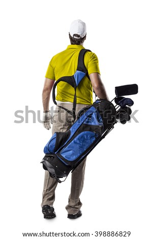 Golf Player in a yellow shirt walking with a bag of golf clubs on his back, on a white Background.