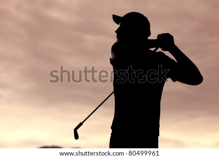 golf player silhouette - stock photo