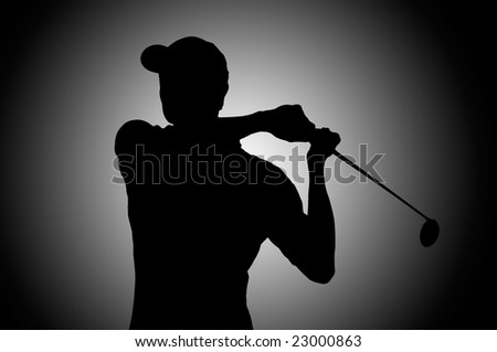 Golf player silhouette in studio - stock photo