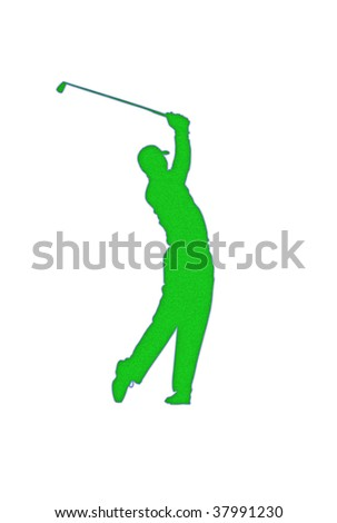 Golf player silhouette patch over white background - stock photo