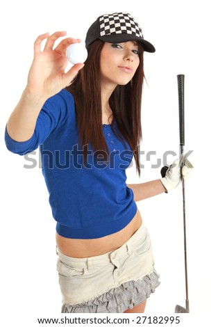 Golf Player. studio isolated shot - stock photo