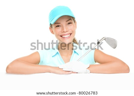 Golf player woman sign. Female golf player showing empty blank white paper billboard. Mixed race Asian Caucasian woman isolated on white background