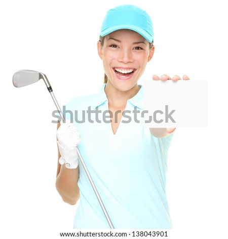 Golf player woman sign. Female golf player showing empty blank white paper sign card or gift card. Mixed race Asian Caucasian woman isolated on white background