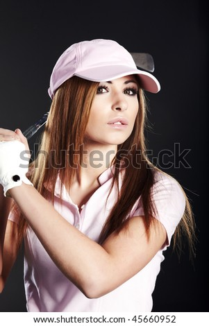 Golf Player Woman. studio  shot