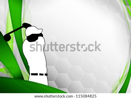 Golf poster: golfer shooting background with space - stock photo