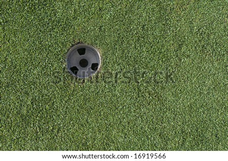 Golf putting hole in green grass