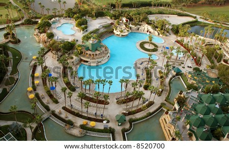 Golf resort aerial view - stock photo
