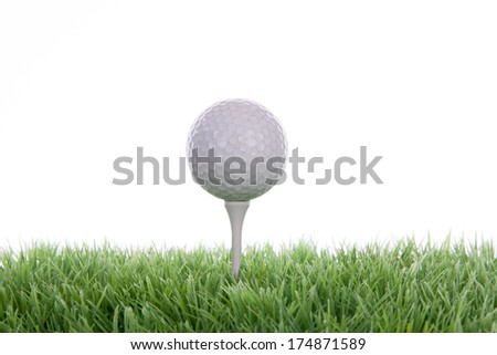 Golf scene on a tee in the photo studio  - stock photo