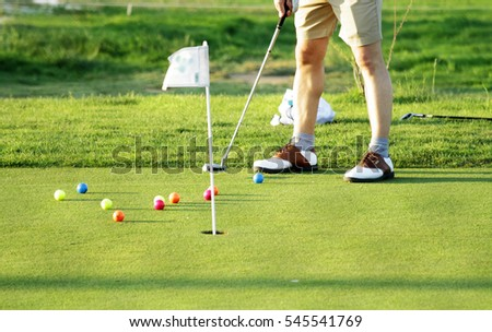 golf scene with the necessary accessories for your practice