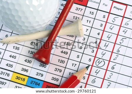 Golf scorecard with ball and tees and circle around birdie - stock photo