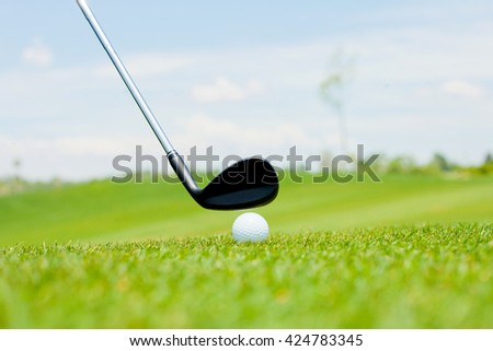 golf shot from the fairway - stock photo
