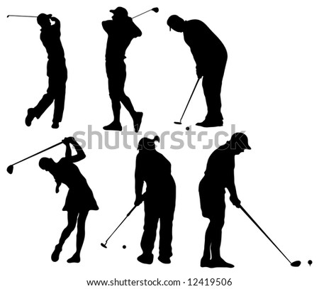 Golf Silhouettes - stock photo