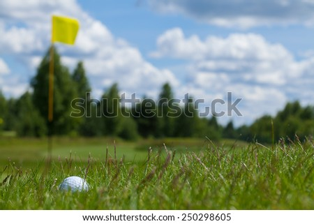 Golf single ball grass one activity flag equipment - stock photo