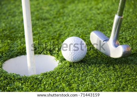 golf stick and ball - stock photo